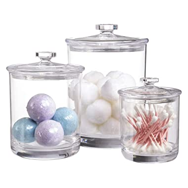 STORi Premium Quality Clear Plastic Apothecary Jars   Set of 3