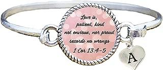 product image for SAS Custom Love is Patient Christian Scripture Cuff Bracelet 1 Cor 13:4-5 Choose Initial