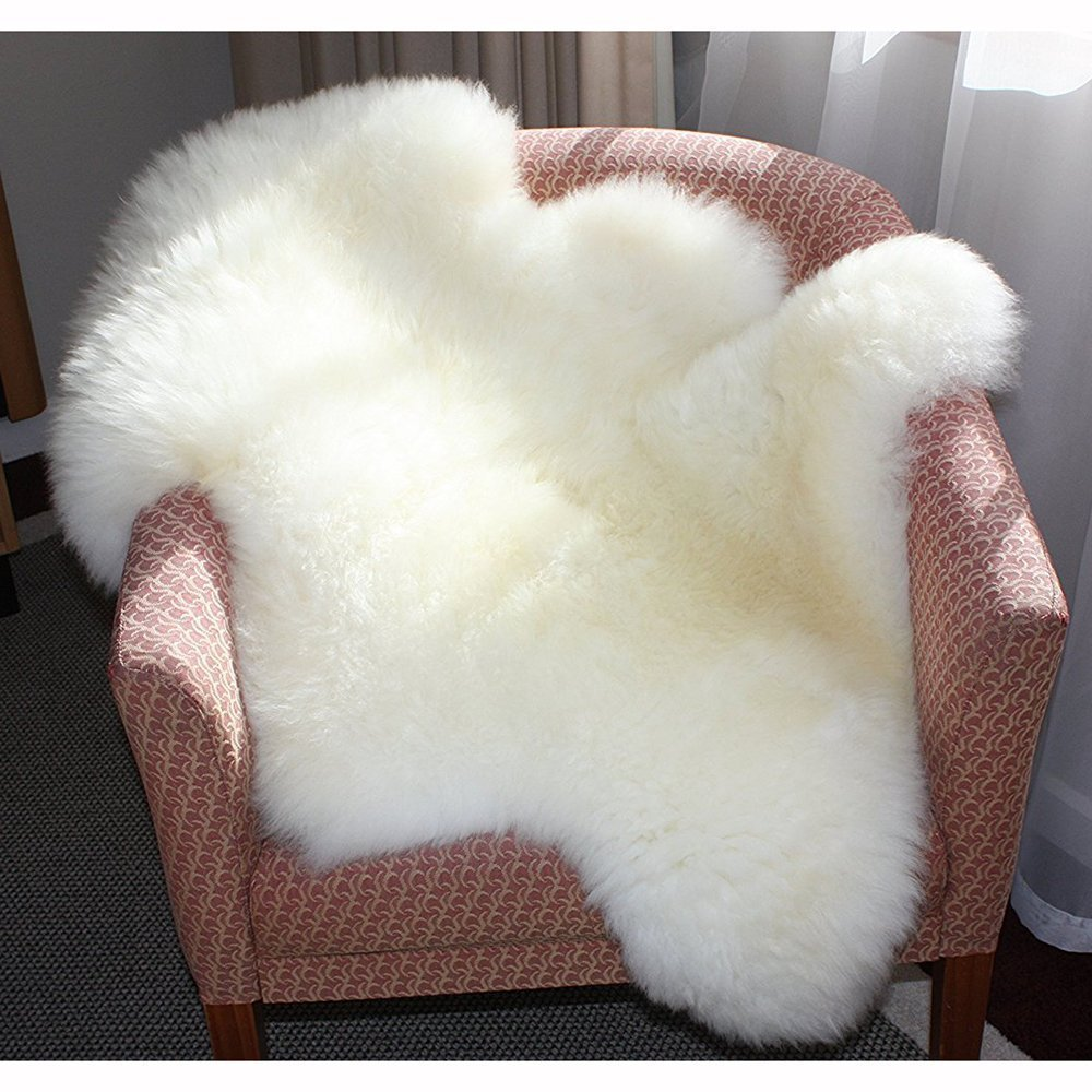 Tapis en fausse peau de mouton - Blanc, dos antidérapant, fait à la main - Pour bain, canapé, chambre, salon, cuisine, chaise, salle à manger - 60 x 90cm Naisicatar