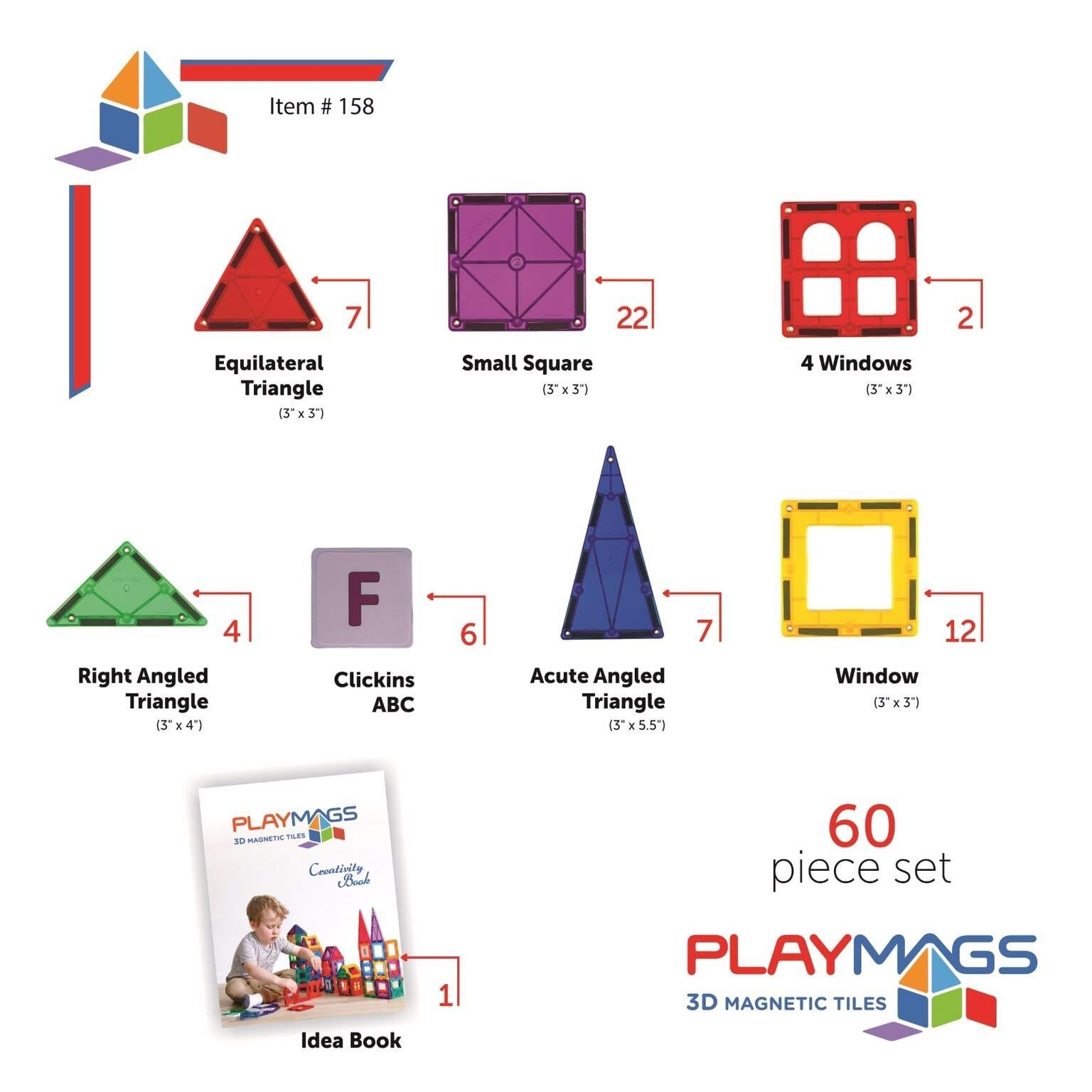 Playmags Clear Colors Magnetic Tiles Building Set 60 Piece Starter Set by Playmags (Image #4)