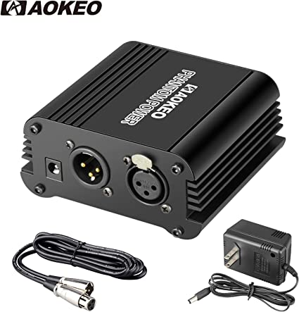 Amazon Com Aokeo 1 Channel 48v Phantom Power Supply With Adapter