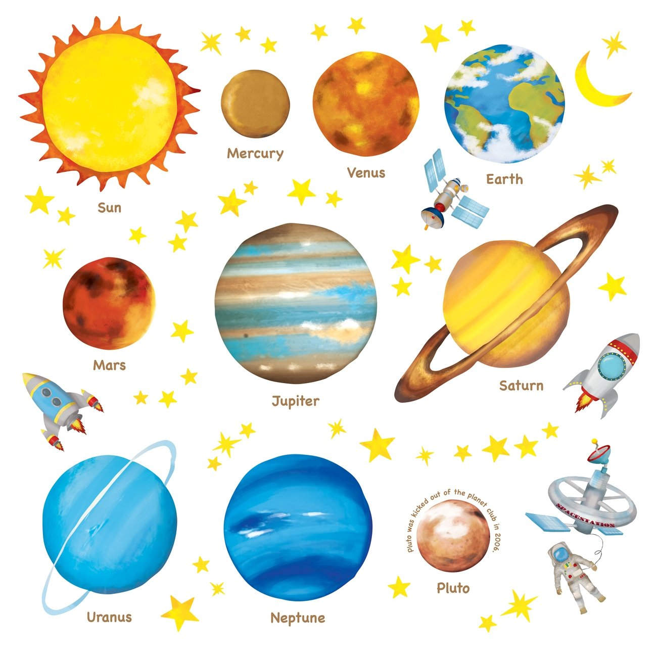 Decowall DW-1307 Planets in The Space Kids Wall Decals Wall Stickers Peel and Stick Removable Wall Stickers for Kids Nursery Bedroom Living Room