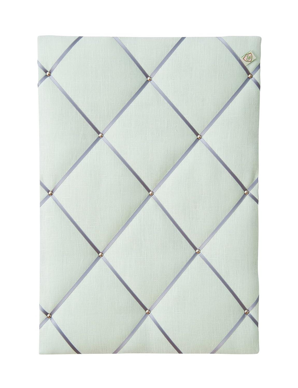 Format 45x65 cm paula /& ferdinand Memoboard LEINEN light grey Satinband creme