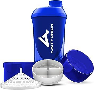 Shaker Deluxe - Proteína Shaker a prueba de fugas - BPA libre y con la escala tamiz de polvo de proteína de suero cremoso sacude (azul oscuro cup ...
