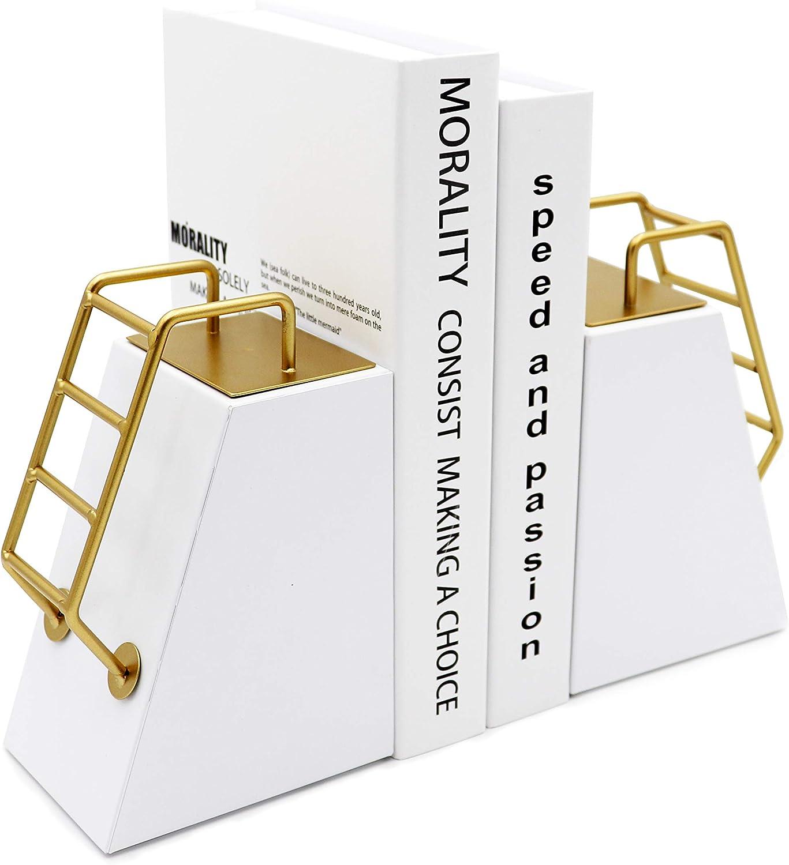 Agirlgle Bookends Decorative Book Ends Metal Modern Gold Tone Ladder Design White Bookend Reading Book end Bookshelf Decor for Library Office School Book Display Desktop Organizer Adults Kids Gift.
