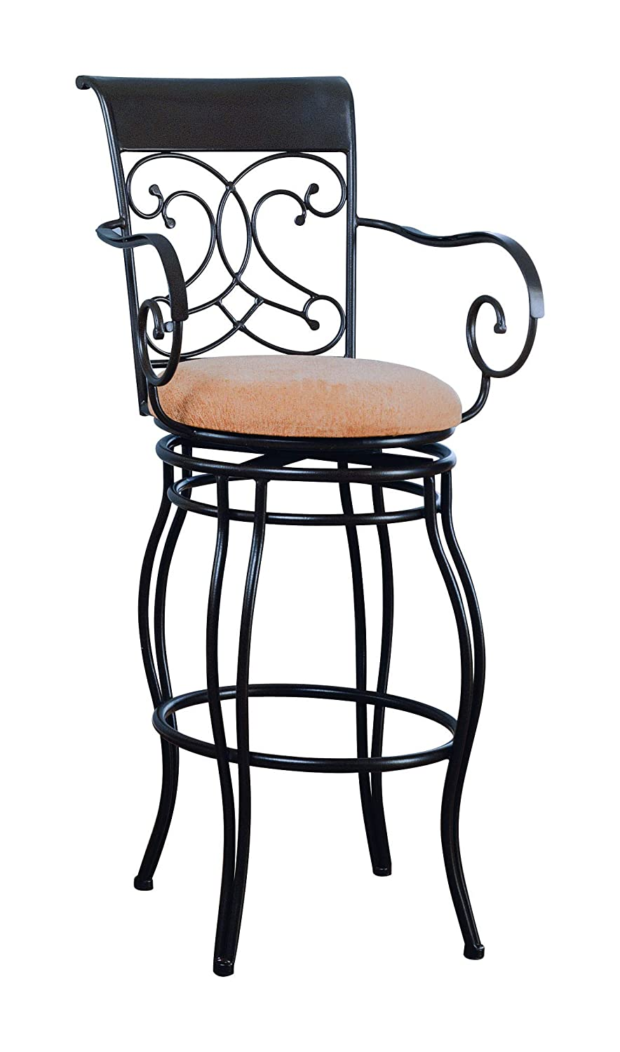 29 Metal Bar Stool with Upholstered Seat Brown and Bronze