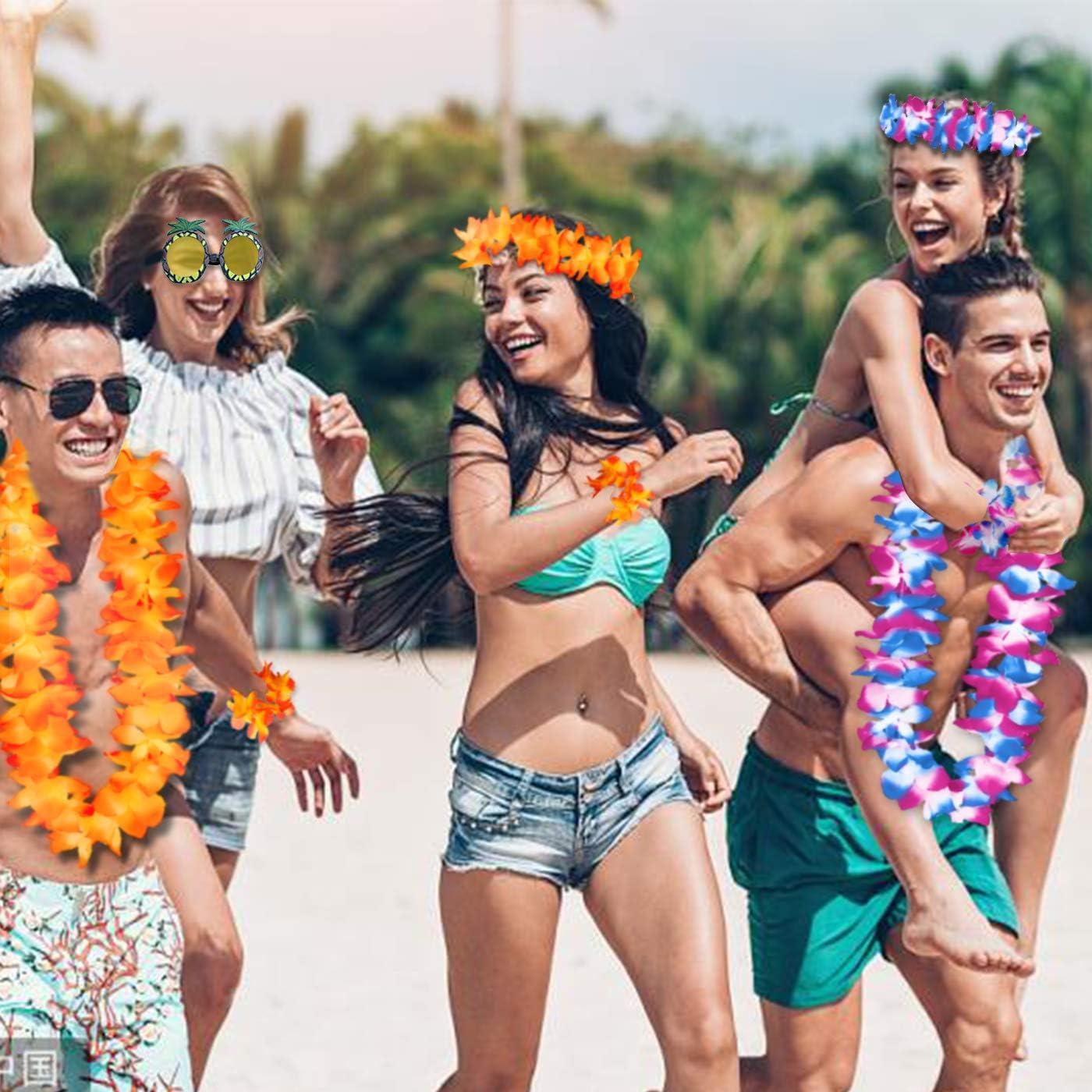 Wedding Birthday Hawaiian Leis Temporary Tattoos Stickers Funny Hawaiian Sunglasses for Hawaiian Party Decorations Summer Beach Vacation Tropical themed Party Favors