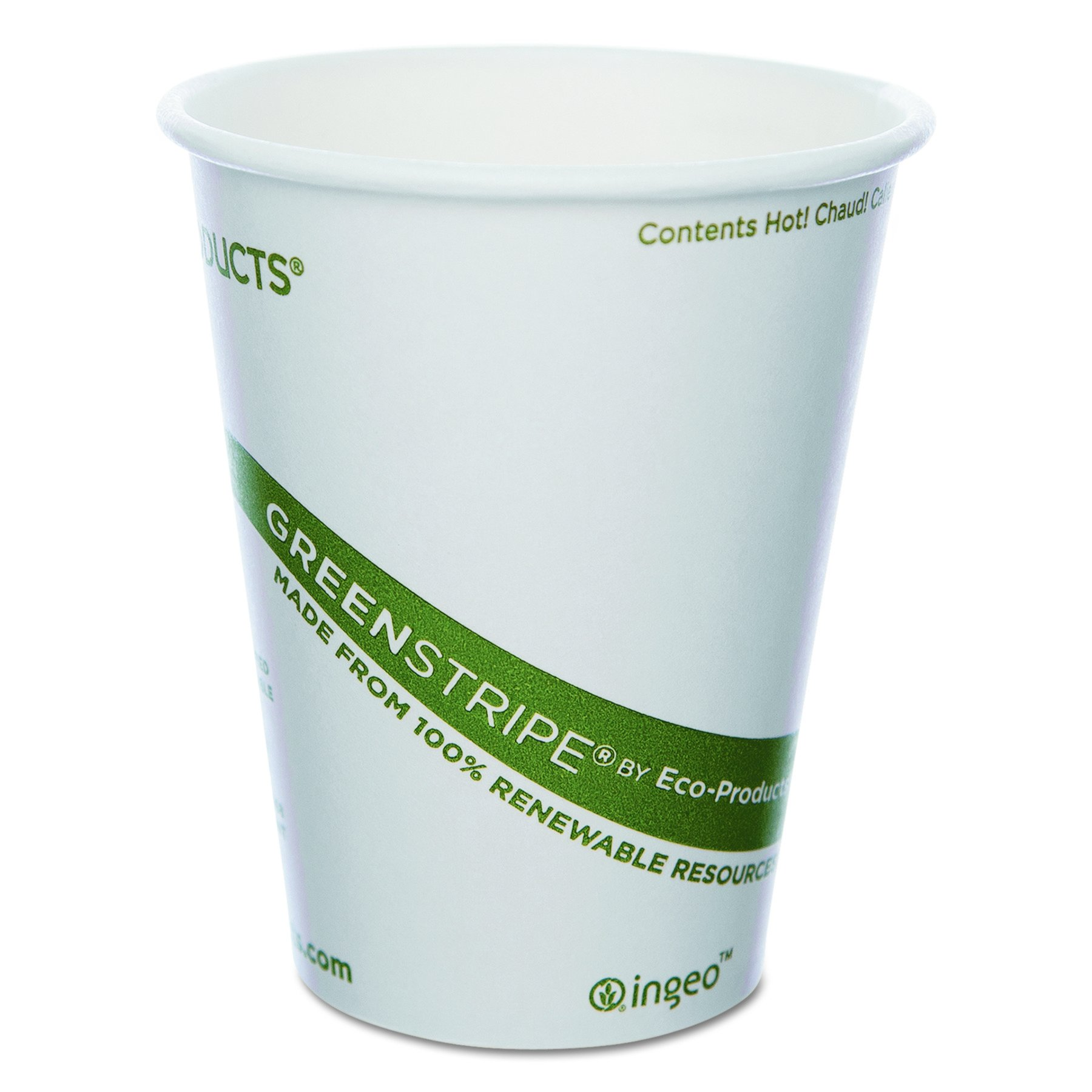 Eco-Products GreenStripe Compostable Hot Cup - 8 ounce - Case of 1000 - EP-BHC8-GS