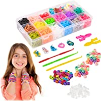 Liberry Rainbow Rubber Bands Bracelet Making Kit with Loom Bands Storage Container. Great Gifts for Girls and Boys, No Loom Board Included.