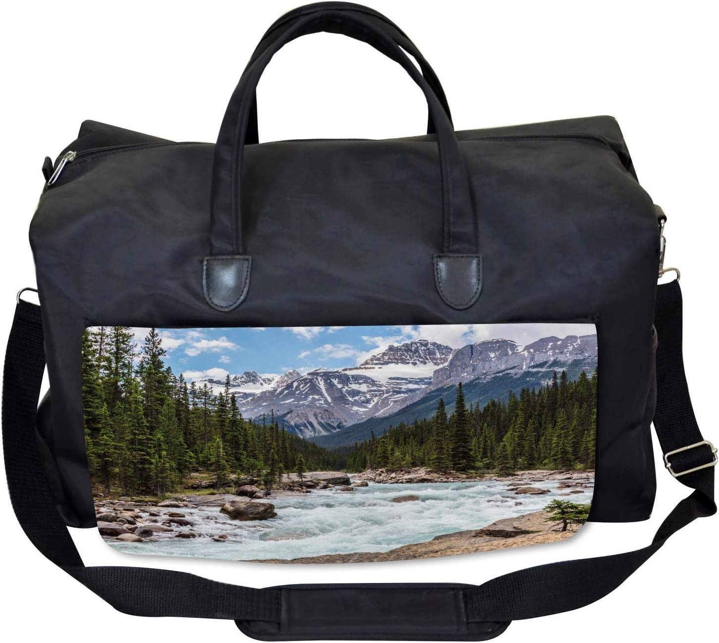 Winter Day Alberta Large Weekender Carry-on Ambesonne Landscape Gym Bag