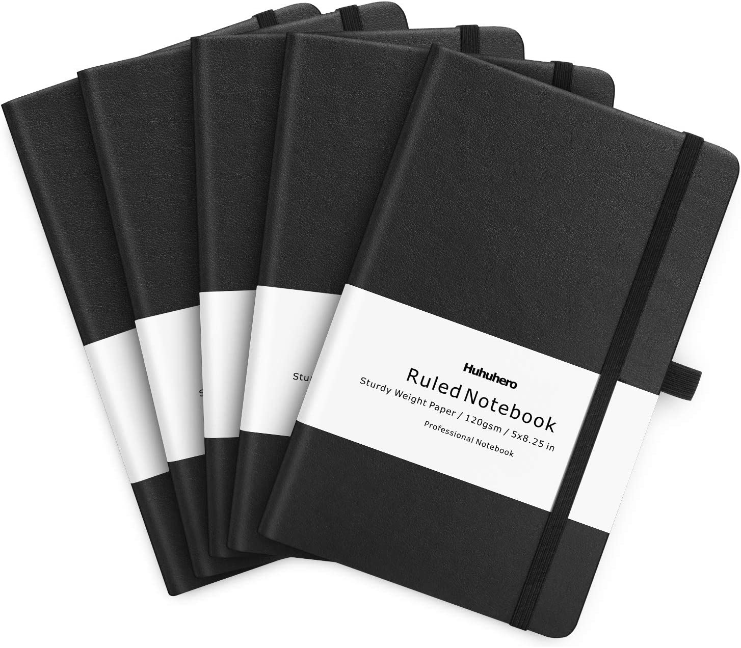"Huhuhero 5 Pack Notebooks Journals, Classic Ruled Notebook, 120Gsm Premium Thick Paper Lined Journal, Black Hardcover Notebook for Office Home School Business Writing Note Taking Journaling, 5""×8.25"""