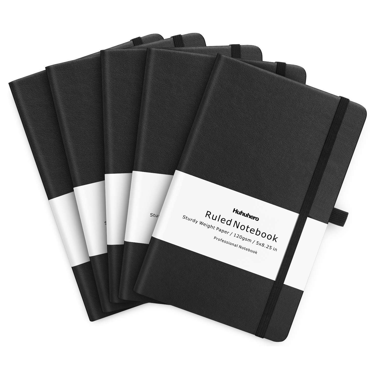 Huhuhero 5 Pack Notebooks Journals, Classic Ruled Notebook, Premium Thick Paper Lined Journal, Black Hardcover Notebook for Office Home School Business Writing Note Taking Journaling, 5''×8.3'' by Huhuhero