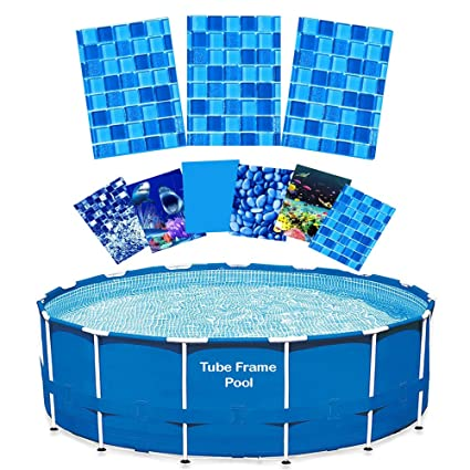 Quality Pool Products 15\' Replacement Relining Kit for Tube Frame Swimming  Pools - Royale Abyss HD Design - Includes Overlap Pool Liner & Clips for ...