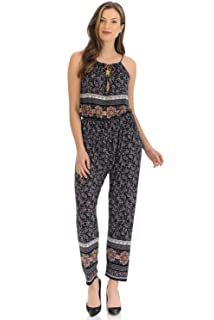 f06a4525fa24 Auliné Collection Womens Sleeveless Halter Neck Boho Long Pants Romper  Jumpsuit