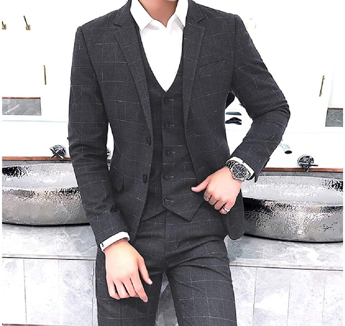 Tootless-Men Dress Business Gentleman Plus Size Suit with Hemmed Pant