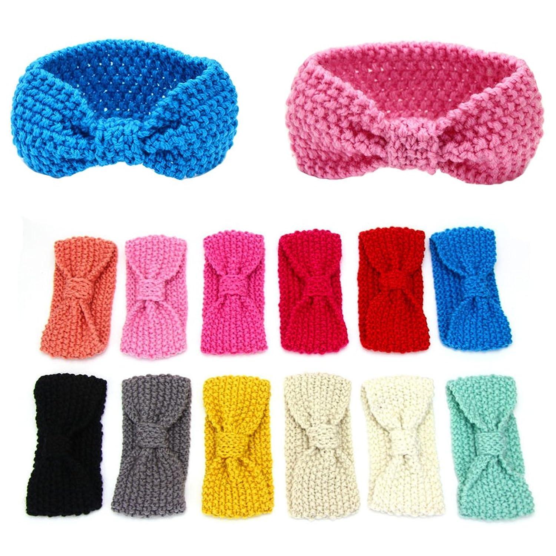 Itopfox Baby Cable Knitted Headwear Winter Turban Headband Ear Warmer Head Wrap