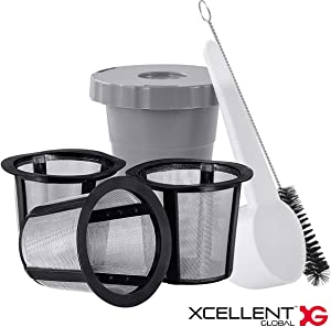 Reusable Coffee Filter Set Compatible with Keurig My K-cup Style, 1 Filter Housing + 3 Extra Filters, Refillable Coffee Pod Filter Fits for B30 B40 B50 B60 B70 Series
