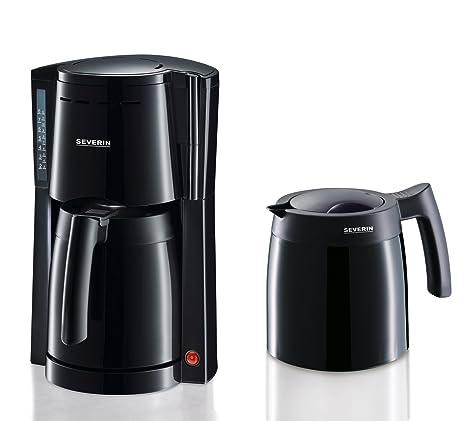 SEVERIN KA 9234 Cafetera para filtros de Café Molido, 8 tazas incluye 2 jarras termo, negro