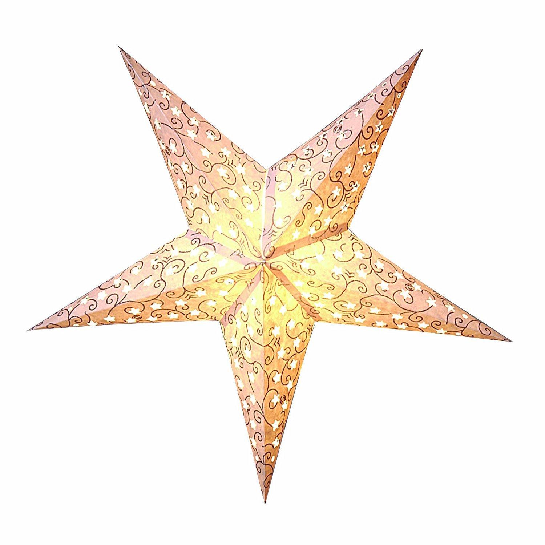 KAMACA BEAUTIFUL - STAR - LIGHT - schö ner leuchtender Stern - 60 cm breit - 5-Zackig - perfekt fü r das Fenster und die Dekoration - Stern inklusive 500 cm Elektrokabel mit Standard - E 14 -Fassung mit Ein-Aus-Schalter - NEU aus dem KAMACA - SHO