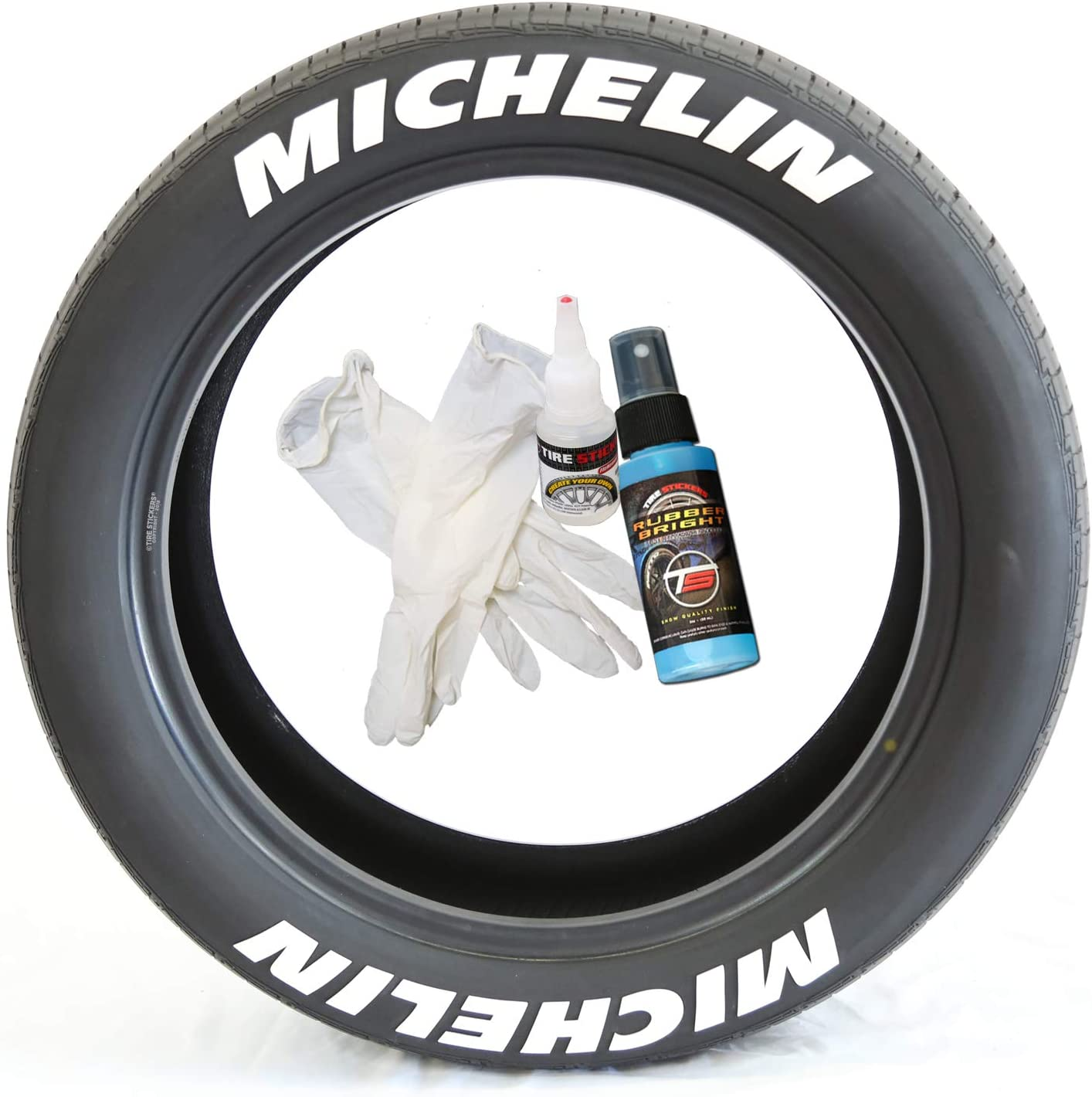 Tire Stickers Michelin Tire Lettering - Permanent Decals with Glue & 2oz Bottle Touch-Up Cleaner / 17-18 Inch Wheels / 1.25 Inches/White / 8 Pack