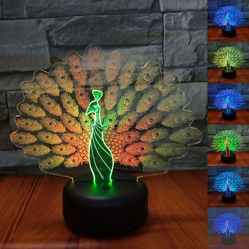 SZLTZK Christmas Gift Dual Color 3D LED Peacock Flaunt Tail Night Light 7 Color Touch Switch with Battery Compartment USB Cable Desk Baby Nursery Lamp Home Decor Birthday Present for Kids Boy Girl