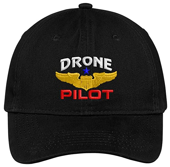 1741c84158b Spiffy Custom Gifts Drone Pilot with Wings Low Profile Baseball Cap Black