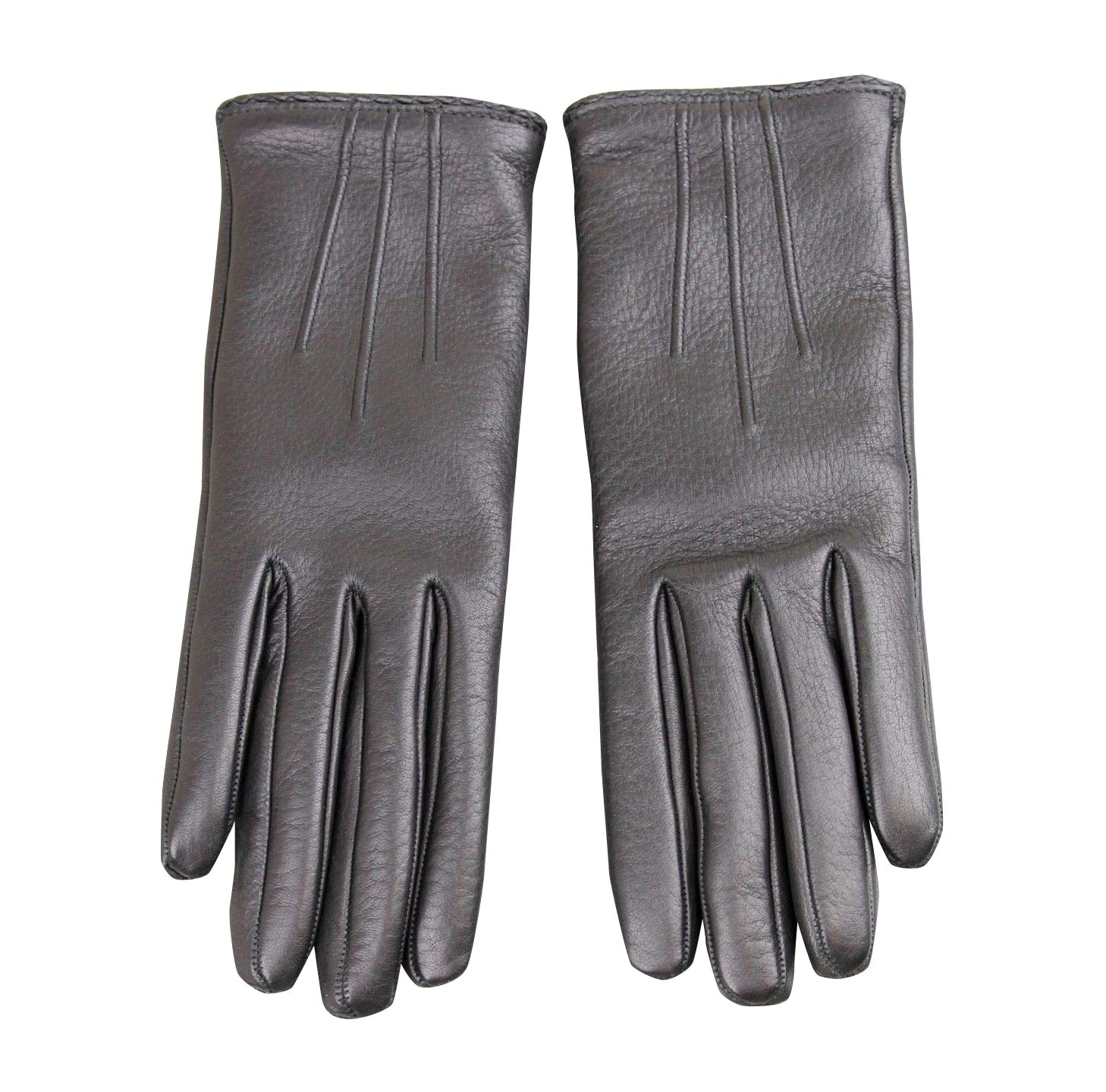 Gucci Women's Metal G Button Black Leather/Cashmere Gloves 258156 (7.5)