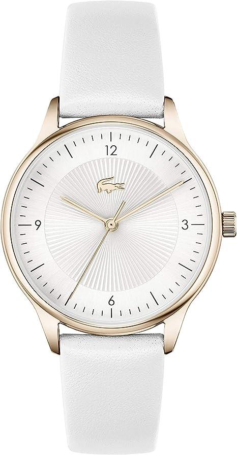Lacoste Women's Stainless Steel Quartz Watch Strap, White Calfskin, 16 (Model: 2001169)