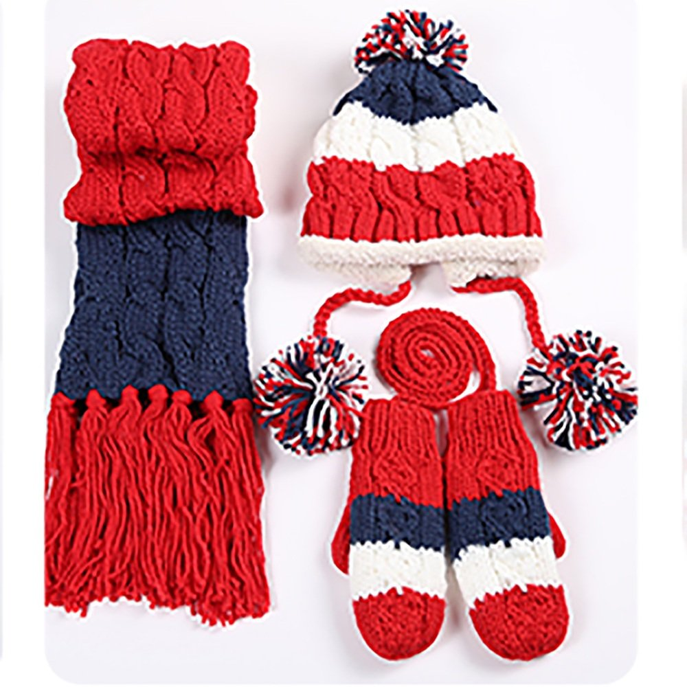 LJHA Guanto in sciarpa del cappello della ragazza invernale Tessuto a tre pezzi morbido e confortevole Spessore Stile dolce Regalo di compleanno di Natale invernale 3 colori opzionali ( Colore : Rosso )