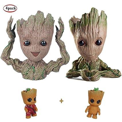 Asamoom Baby Groot Pot De Fleur Figurine Daction Marvel De