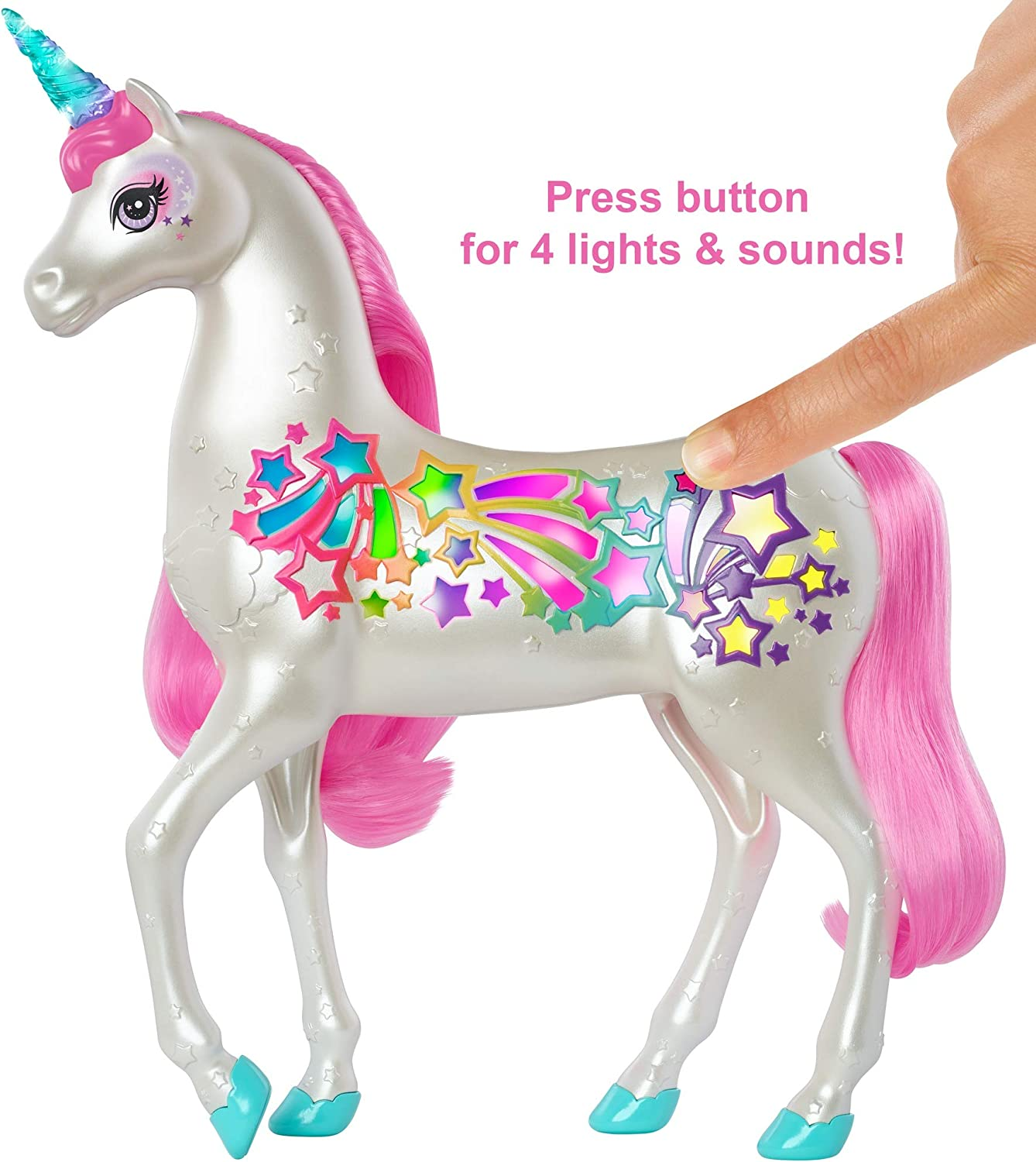 Gallery Barbie GFH10 Dreamtopia Brush 'n Sparkle Unicorn with Lights and Sounds,  White with Pink Mane and Tail is free HD wallpaper.