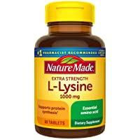 Nature Made Extra Strength L-Lysine 1000 mg Amino Acid, 60 Tablets (Packaging May...