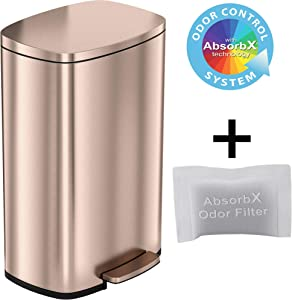 iTouchless SoftStep 13.2 Gallon Stainless Steel Step Pedal Garbage Can with with Odor Control System, 50 Liter Trash Bin for Kitchen, Office, Home - Silent and Gentle Open and Close, Rose Gold