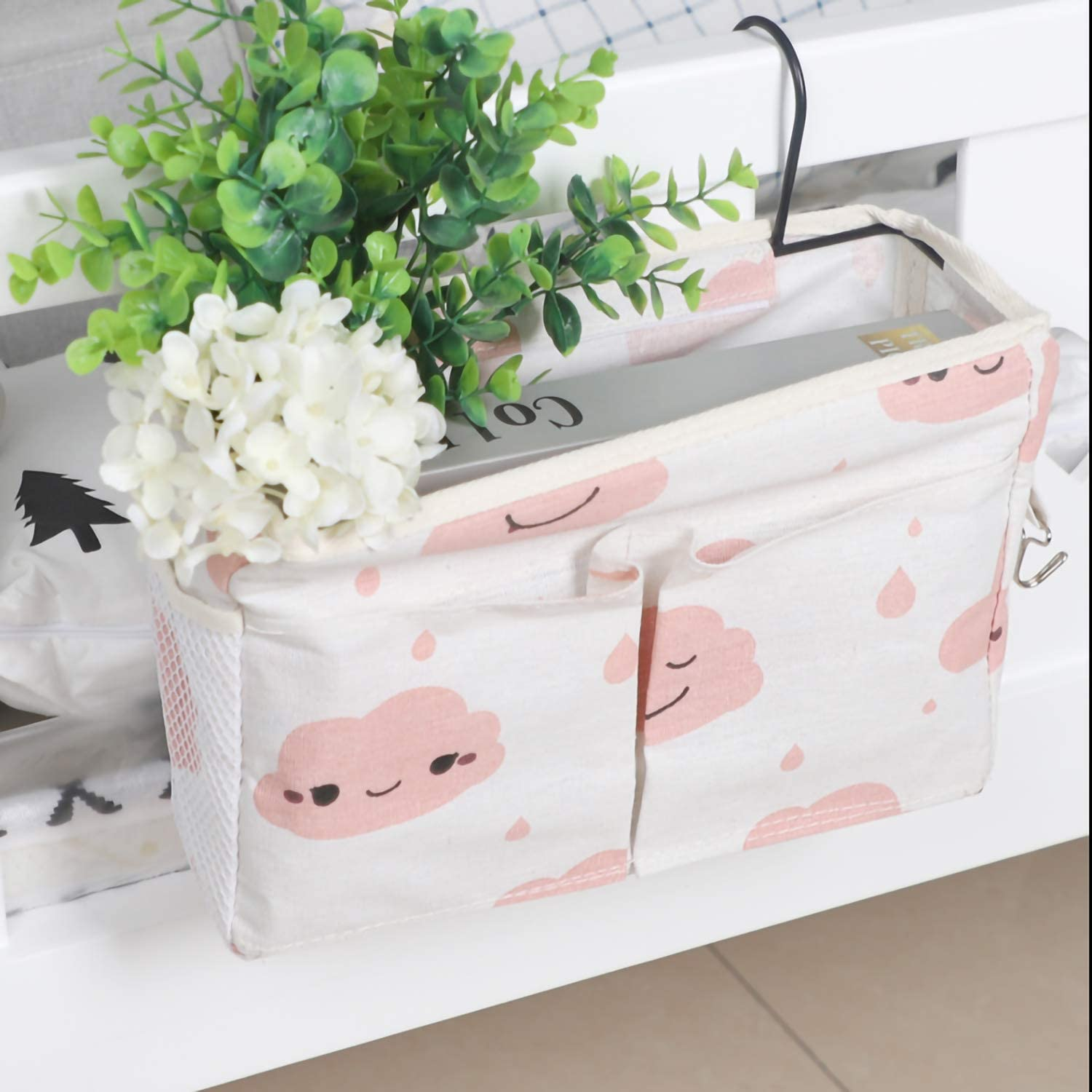 FOOF 2 Pack Bed Side Hanging Organizer Caddy Pocket with Metal Hooks for Apartments Dorm Hanging Pouch Storage Pink