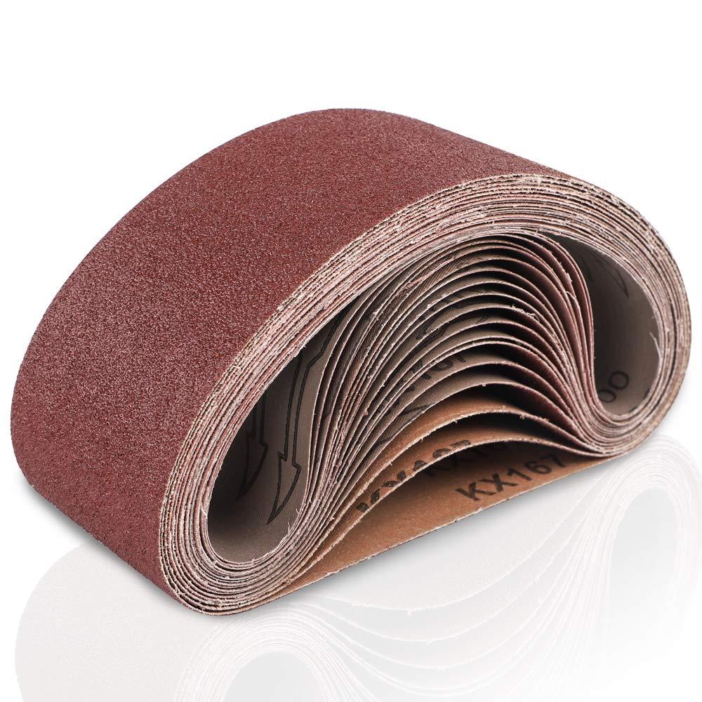 Coceca 3x21inch(75x533mm) Aluminum Oxide Sanding Belt, 18-Pack Sanding Belts (3 Each of 60 80 120 180 240 400 Grits) For Belt Sander