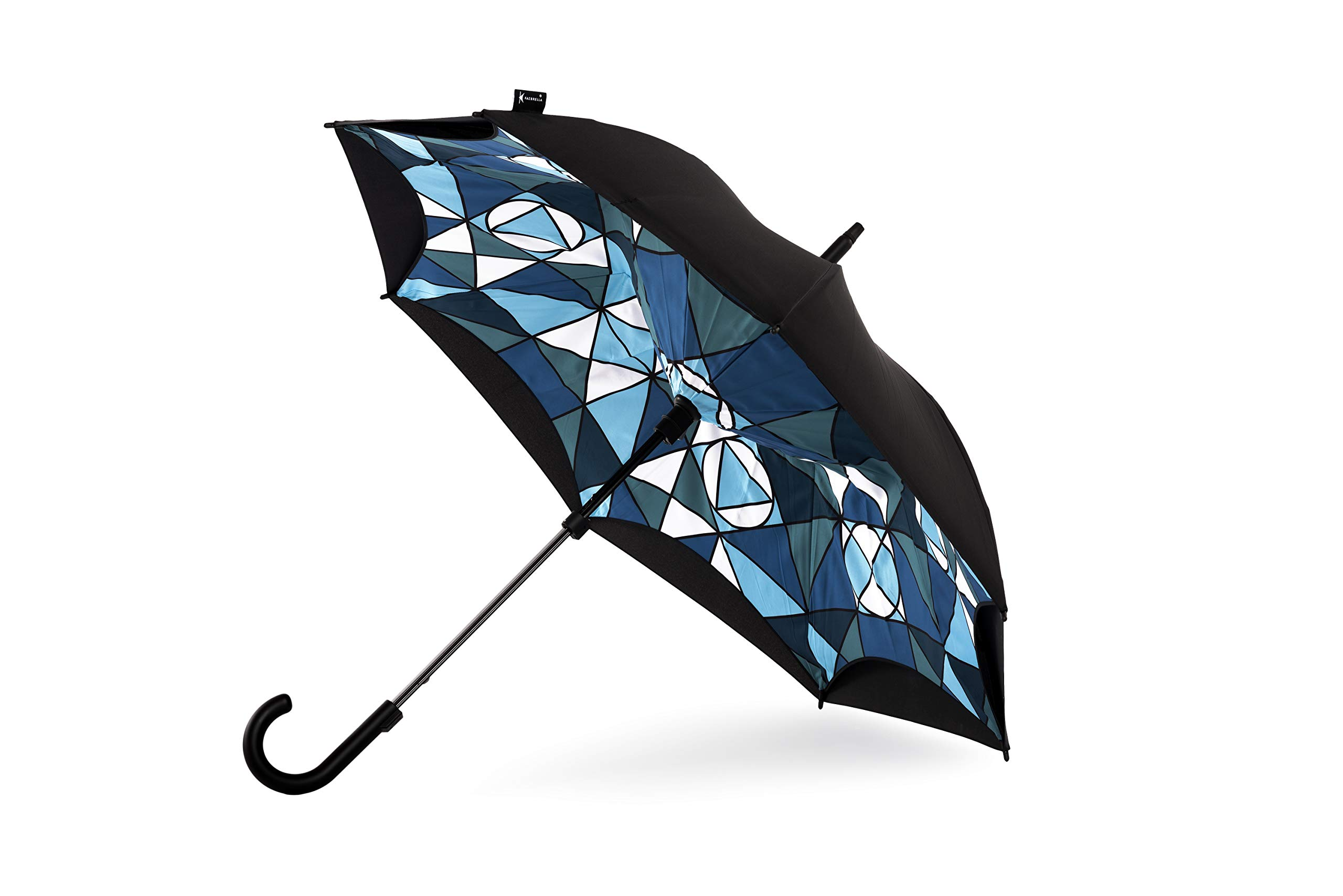 Original Kazbrella The inside out umbrella Reverse Folding Inverted Umbrella Double Layer Wind Proof UV Proof (Maze(Curved Handle))