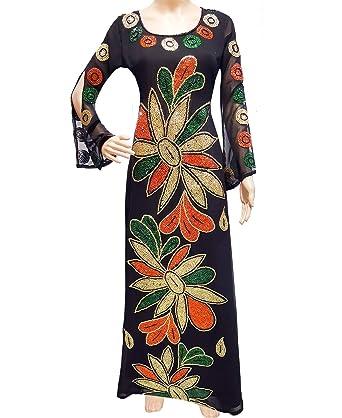 4f7fd9c186e African Boutique Black Dubai Kaftan Beaded Million Diamond Sparkling Stone  Dress (XS)