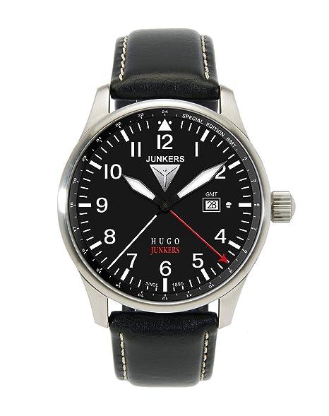 Junkers 66442 - Reloj analógico de cuarzo para hombre con correa de piel, color negro