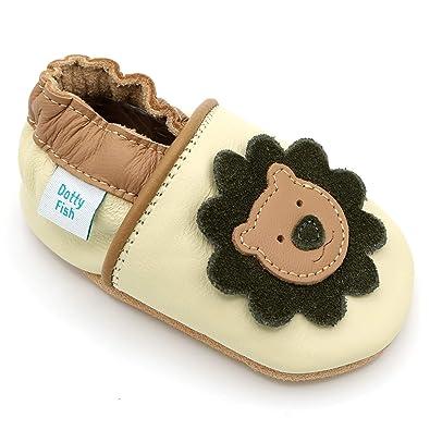 77c2f7e5c538f Dotty Fish - Garçons et Filles Chaussures Cuir Souple bébé et Bambin –  Crème et Brun