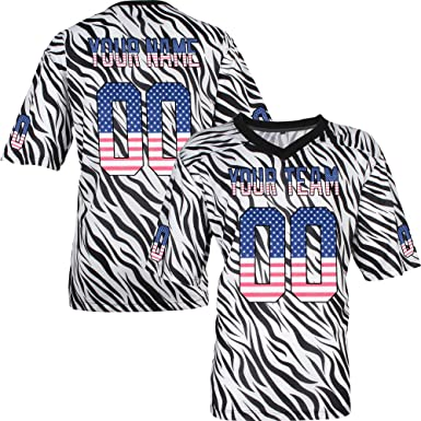 f0f397c9ba2 Custom Football Jerseys for Women Personalized Any Name and Numbers - Black Zebra  Pattern Jersey