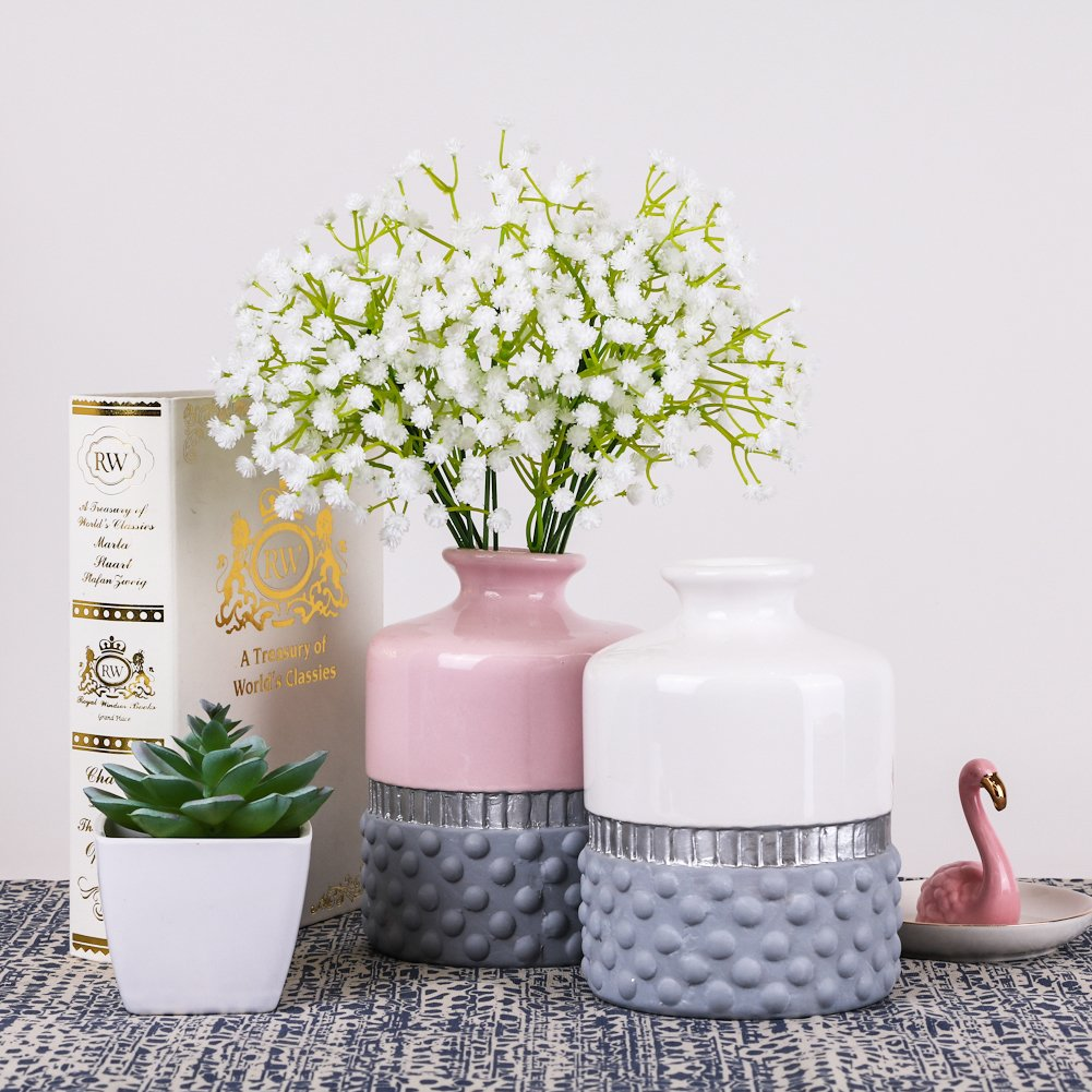 Teresas Collections Ceramic Vases for Flowers Handmade Porcelain with Cylinder Dot Embossed for Home Decor H15.5cm, Grey Pink