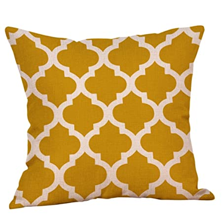 Winkey Pillowcase, 45X45cm Mustard Pillow Case Yellow Geometric Fall Autumn  Cushion Cover Decorative,Machine Washable,Anti-Allergy,Anti-Bacterial (D)