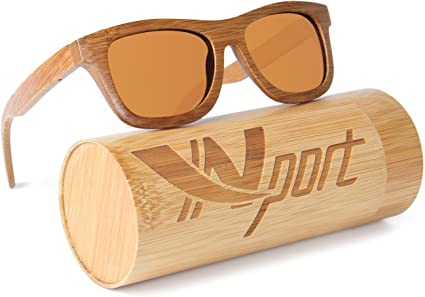 Vintage Men Women Bamboo Sunglasses Polarized Wooden Temple Wood USA Seller
