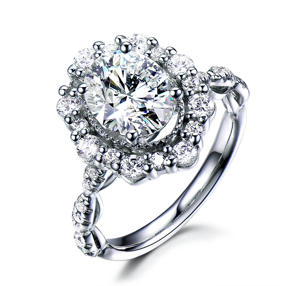 Oval Cut Cubic Zirconia CZ Diamond Engagement Ring 925 Sterling Silver White Gold Halo Unique Vintage