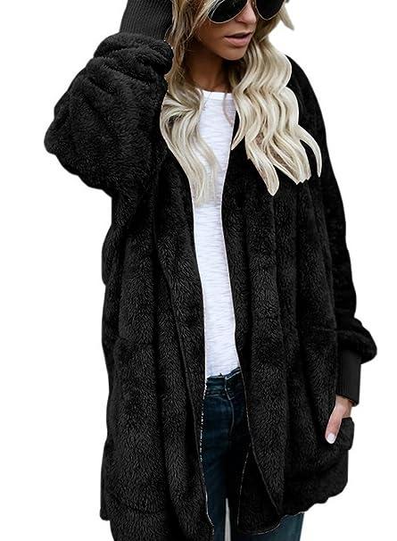 8f7f784fabd0 ASSKDAN Womens Fluffy Fuzzy Soft Open Front Hooded Cardigan Casual ...