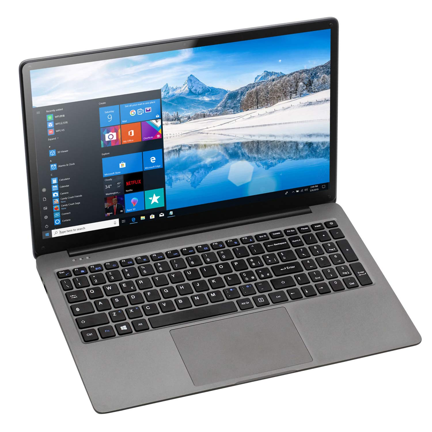 Laptop 15,6 Zoll Windows 10 Notebook - Winnovo KenBook Intel Celeron N3350, 6GB RAM + 1TB HDD, Full-HD, RJ-45, Bluetooth, USB 3.0, Micro HDMI, WLAN, 10.000MAh Akku, 64 Bit (Silber Grau)