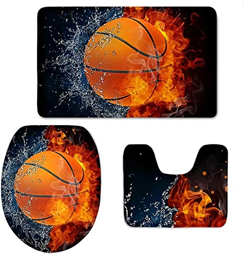 Bathroom Set 3 Piece Basketball,Fire and Water Print Bath Mat Rug Lid Toilet Covers Toilet Seat Cushion Non-Slip Rubber Backing Mat