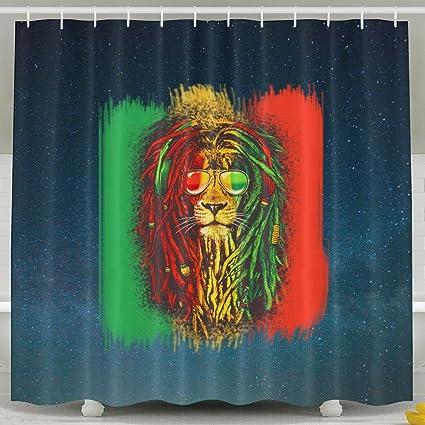 Reggae Rasta bandera León baño cortina de ducha cortina de baño de tela con ganchos