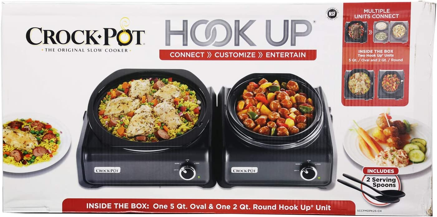Crockpot 5 quart oval plus 2 quart round hookup SCCPMDPK25-CH BLACK