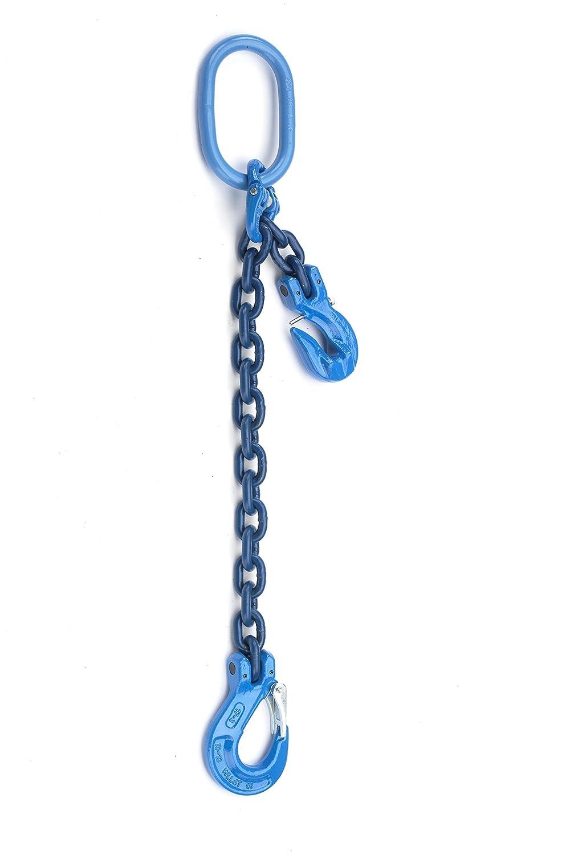 1-Strang-Geh/änge 1m Nutzl/änge mit Verk/ürzung oben mit Standardaufh/ängring G100 Stempelung Anschlagkette mit Gabelkopfhaken Kette 8mm /Ø G/üteklasse 10 blau